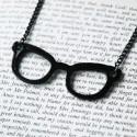 """Nerd Glasses"" necklace (black)"