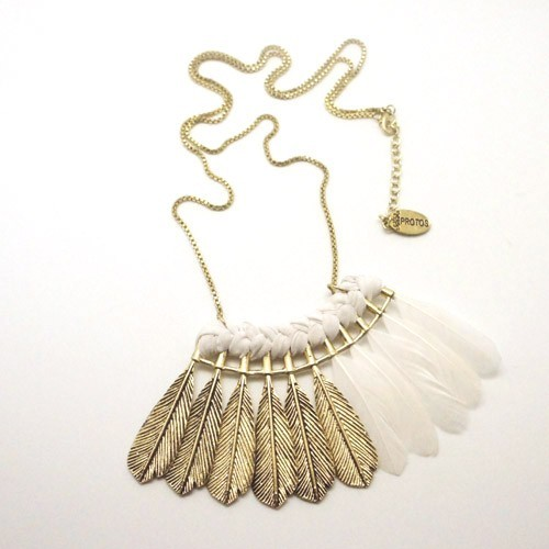 Necklace feathers braid gold