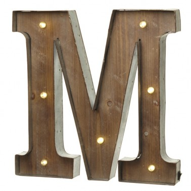 M letter with leds