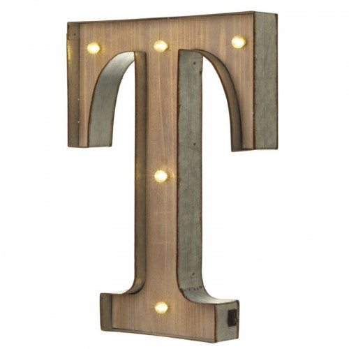 T letter with leds