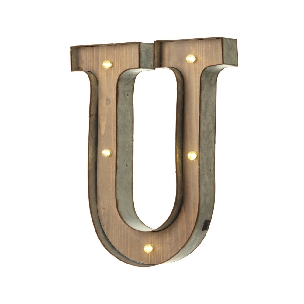 U letter with leds