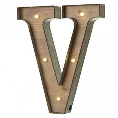 V letter with leds