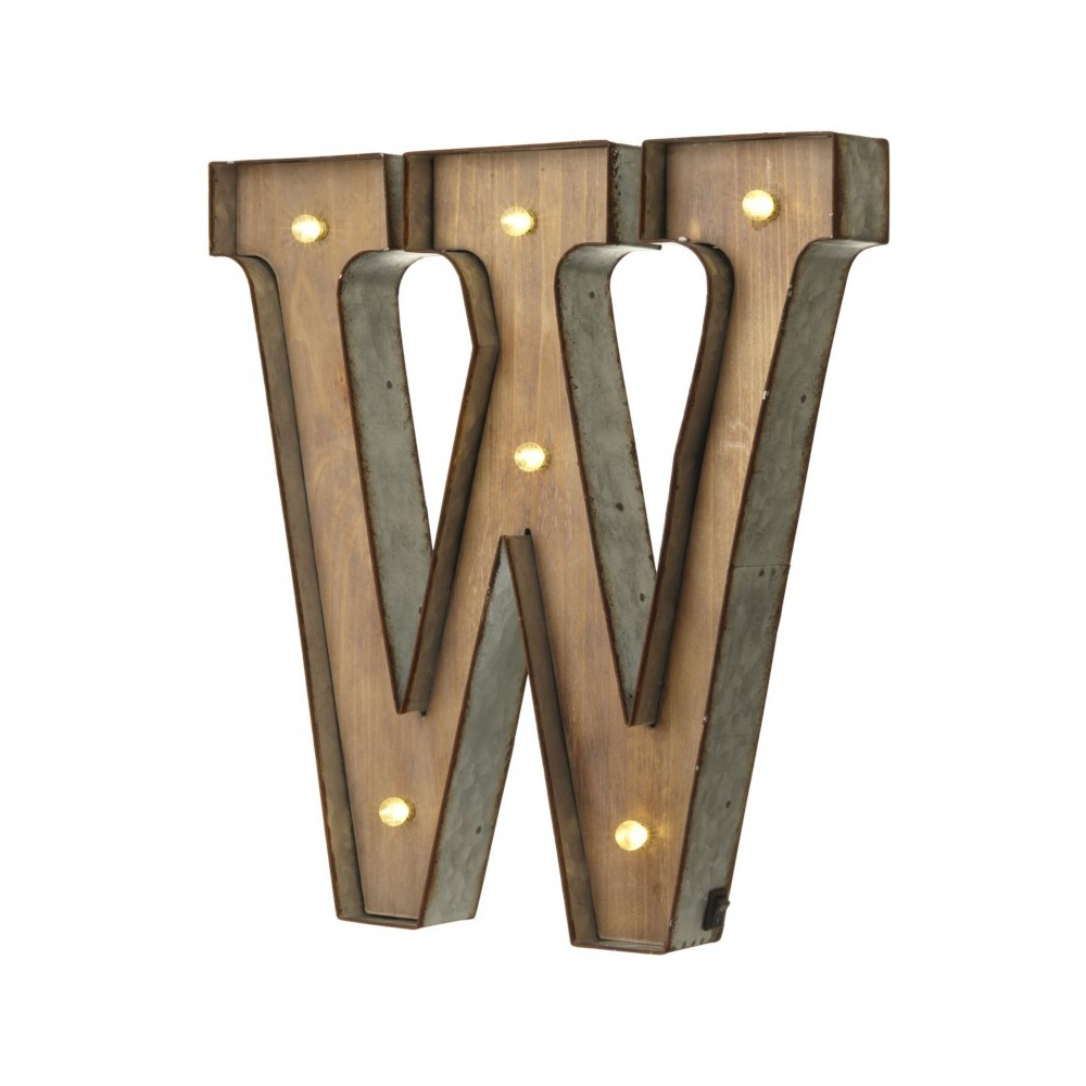 W letter with leds
