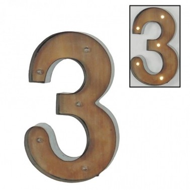 Número 3 con leds