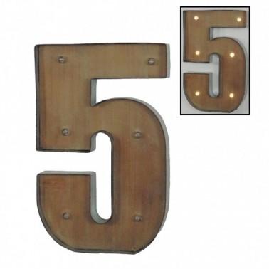 Número 5 con leds