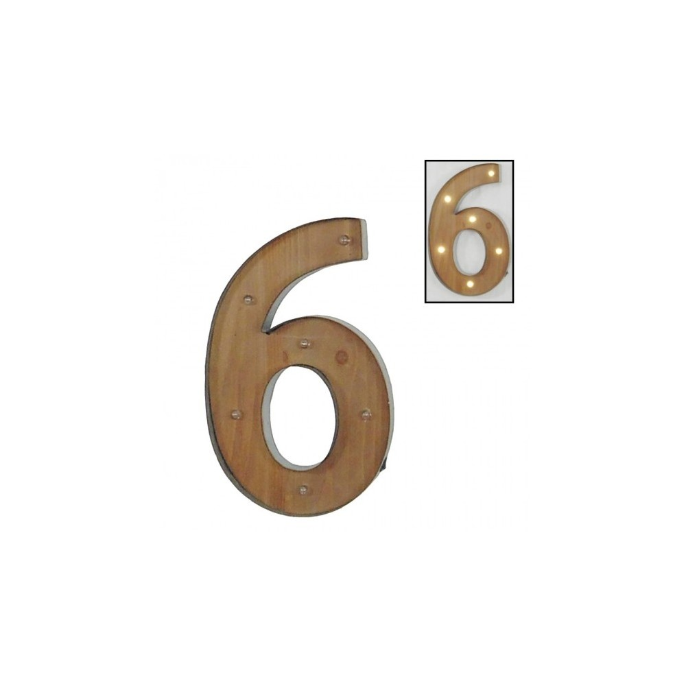 Número 6 con leds