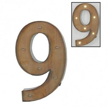 Número 9 con leds