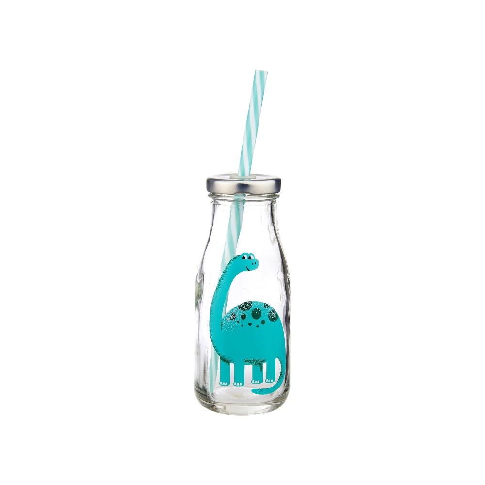 mini botella dinosaurio con pajita