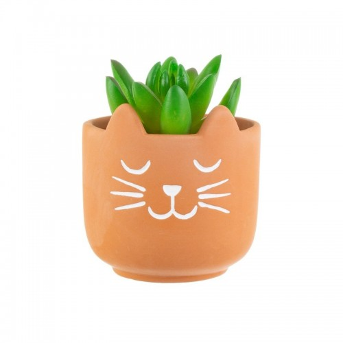 Mini Maceta Gato terracota