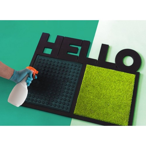 Disinfectant Hello mat door green
