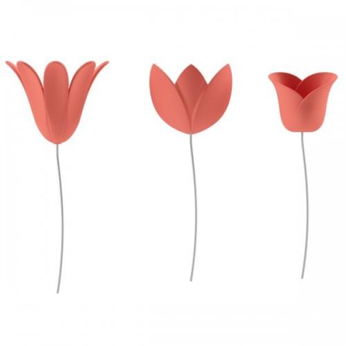 Set 9 Tulipanes decorativos pared coral