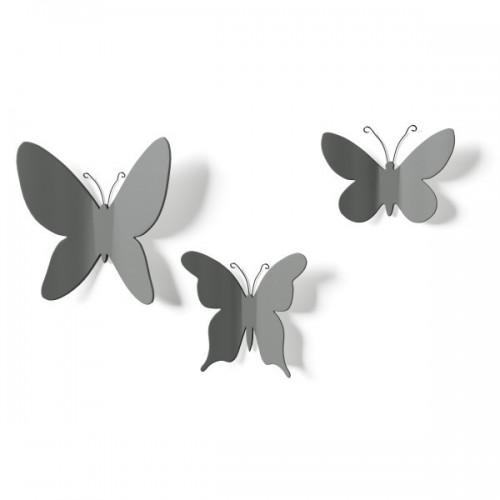 Set 9 mariposas decoración pared gris
