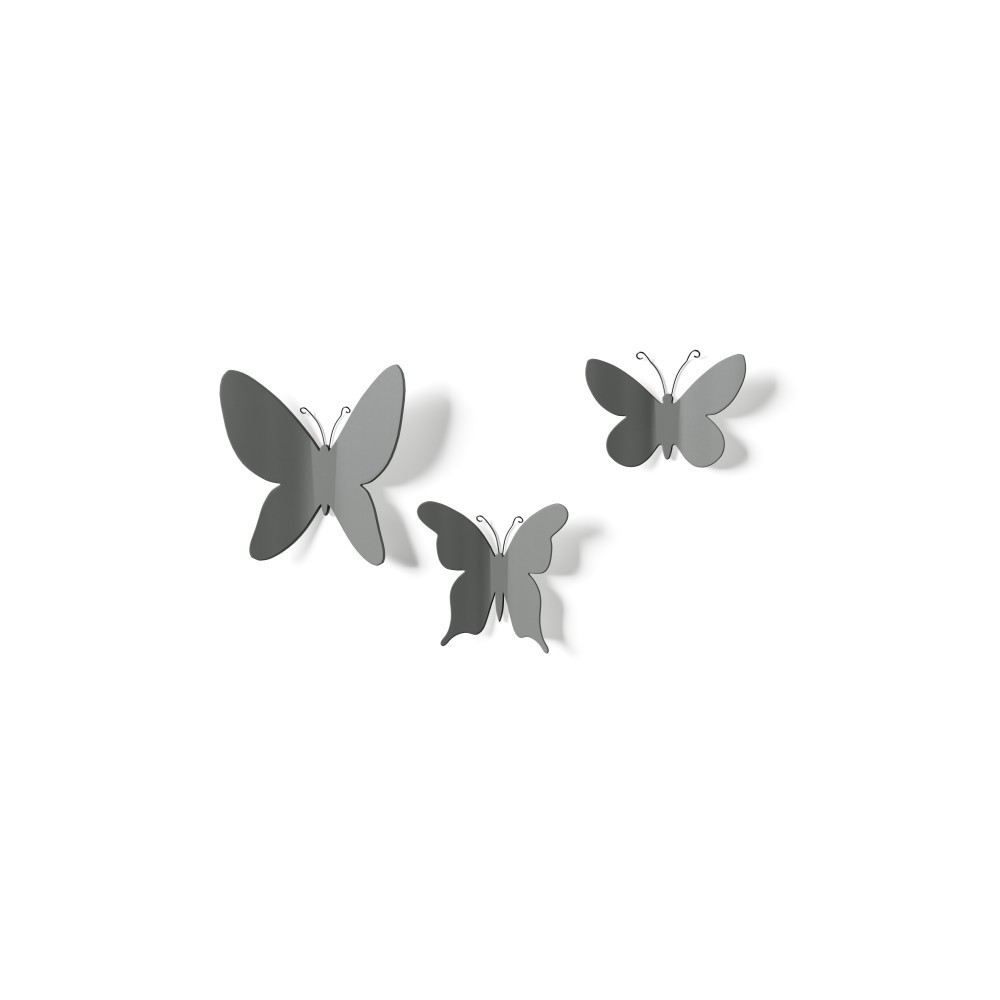 Set Butterfly wall decor grey