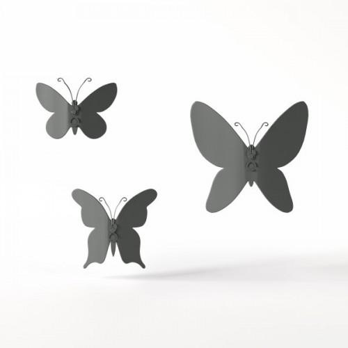 Set Butterfly wall decor grey
