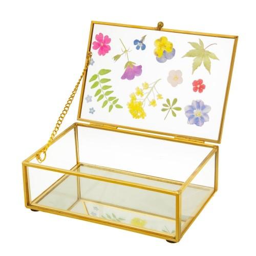 Joyero Flores - Joyero de cristal con estampado de flores y dorado