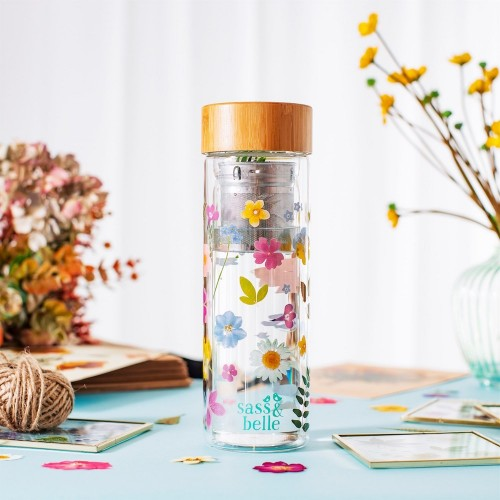 FLOWER GLASS WATER BOTTLE WITH INFUSER