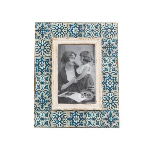 Marco de fotos que imita azulejos estilo mediterráneo