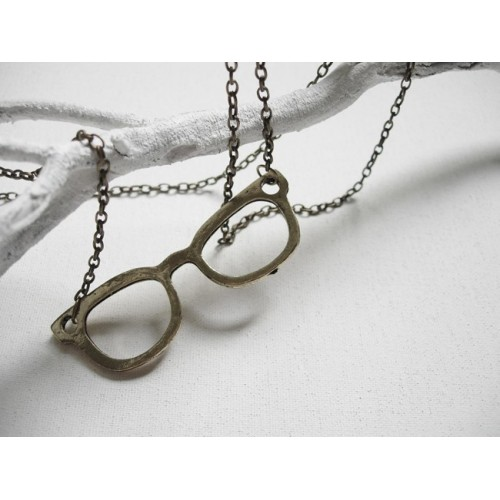 Collar gafas nerd doradas
